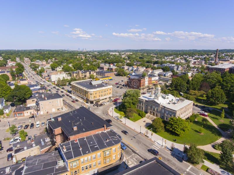 Vista aérea del ayuntamiento de Waltham, Massachusetts, Estados Unidos fotos de archivo libres de regalías