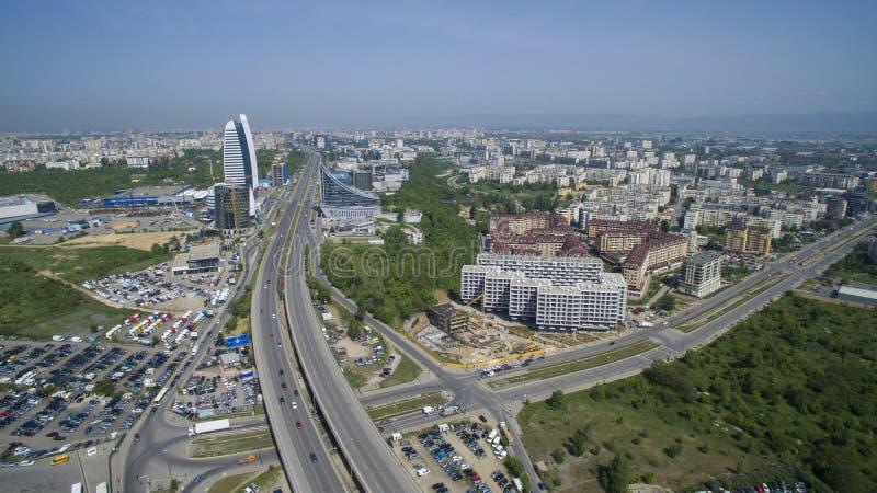Vista aérea del bulevar de Tsarigradsko Chaussee, Sofía, Bulgaria fotografía de archivo libre de regalías