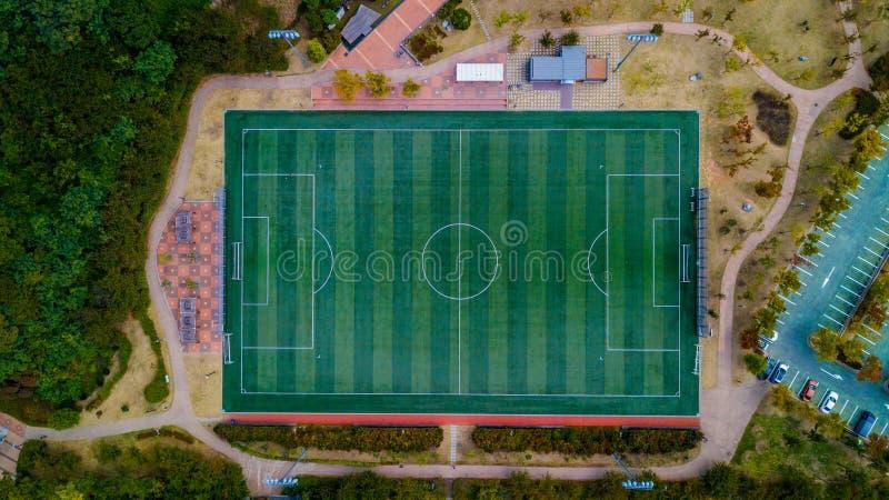 Vista aérea del campo de fútbol en Corea del Sur foto de archivo