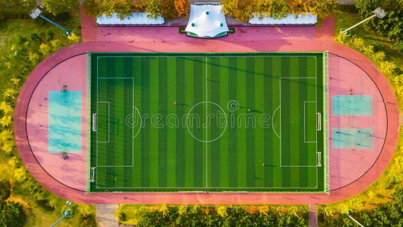 Vista aérea del campo de fútbol en Corea del Sur imagen de archivo libre de regalías