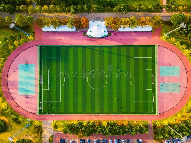 Vista aérea del campo de fútbol en Corea del Sur fotografía de archivo