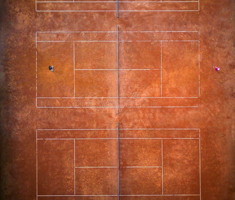 Vista aérea del campo de tenis fotografía de archivo