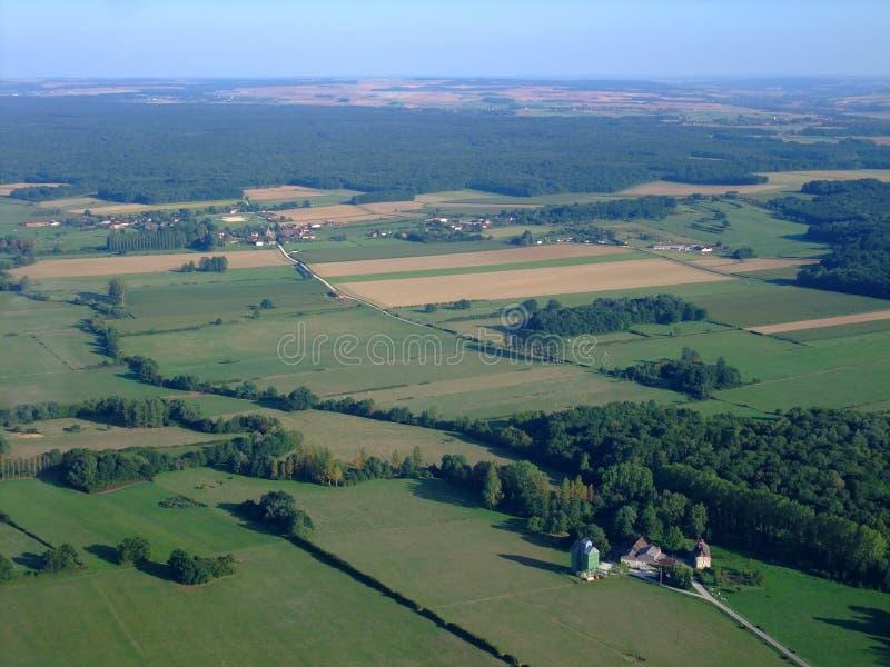 Vista aérea del campo francés Yonne del norte fotografía de archivo libre de regalías