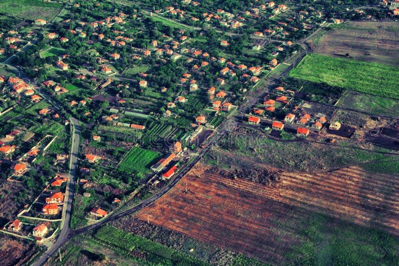 Vista aérea del campo verde fotografía de archivo libre de regalías