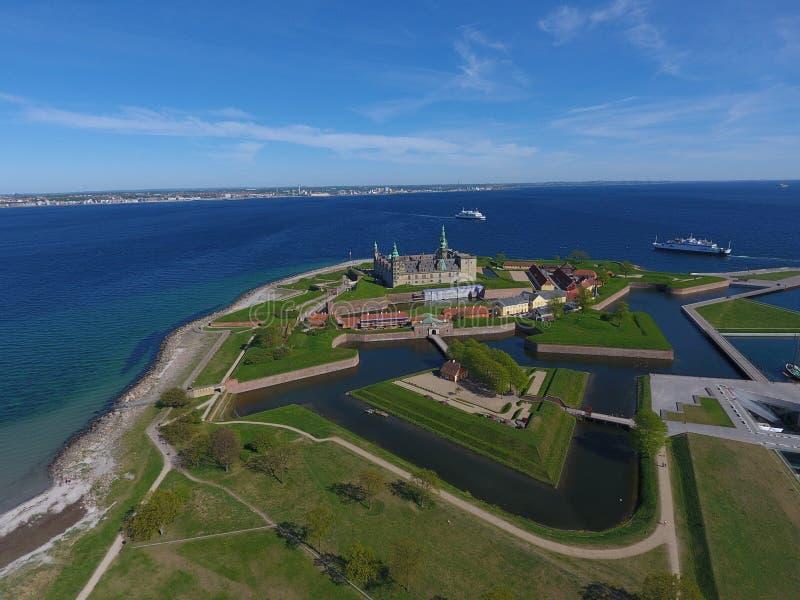 Vista aérea del castillo de Kronborg, Dinamarca fotografía de archivo libre de regalías