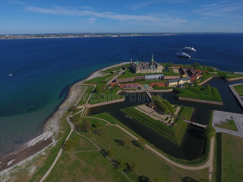 Vista aérea del castillo de Kronborg, Dinamarca imágenes de archivo libres de regalías