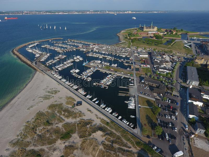 Vista aérea del castillo de Kronborg, Dinamarca imagen de archivo libre de regalías