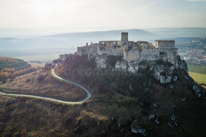 Vista aérea del castillo de Spis, Eslovaquia imagen de archivo libre de regalías