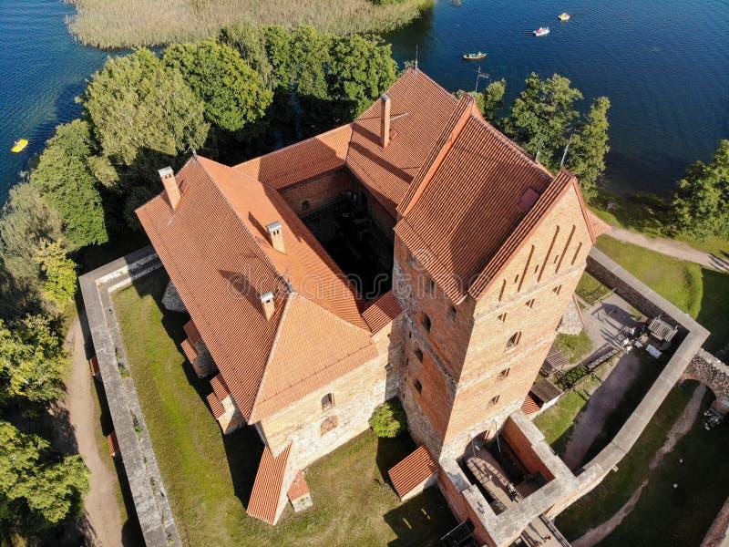 Vista aérea del castillo de Trakai en Lituania imagen de archivo