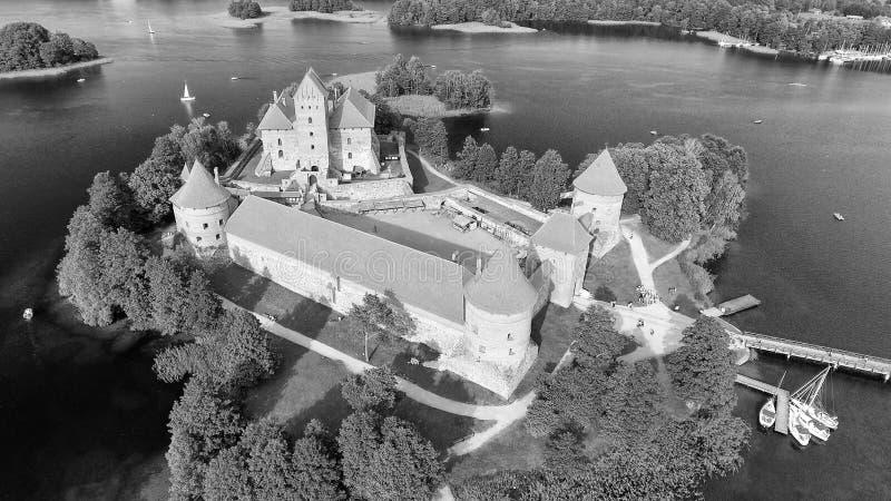 Vista aérea del castillo de Trakai, Lituania foto de archivo