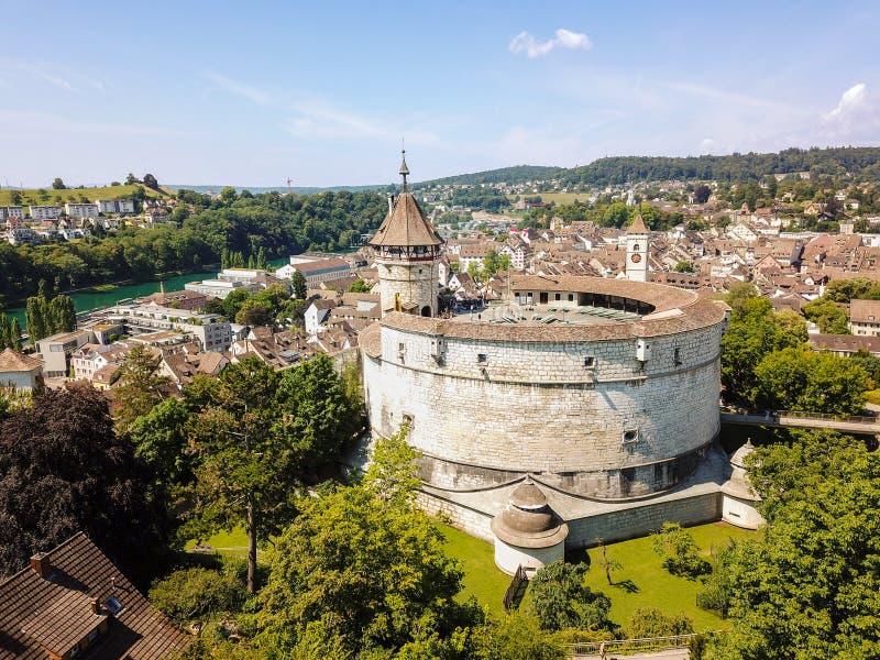 Vista aérea del castillo medieval Munot, Suiza fotos de archivo libres de regalías