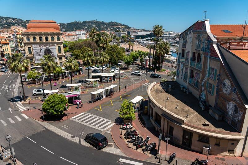Vista Aérea Del Centro De Cannes imagen de archivo