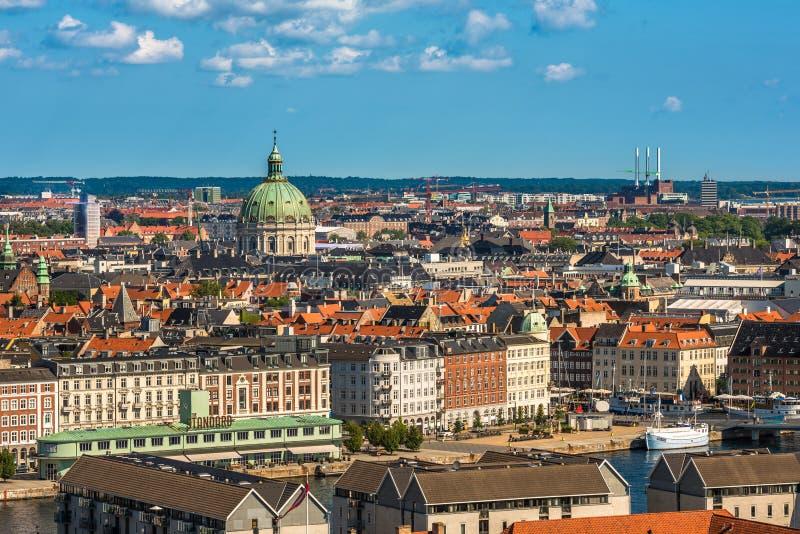 Vista aérea del centro de ciudad de Copenhague, Dinamarca fotografía de archivo libre de regalías