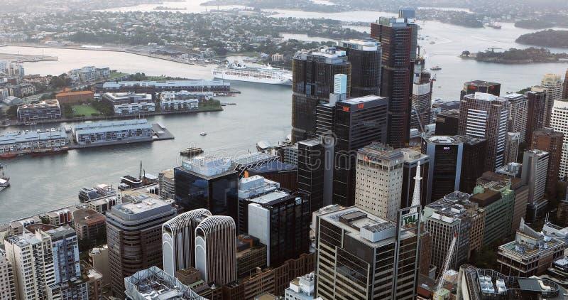 Vista aérea del centro de ciudad en Sydney, Australia fotografía de archivo