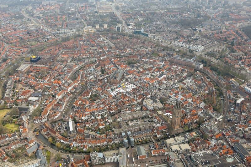 Vista aérea del centro histórico de Amersfoort imagenes de archivo