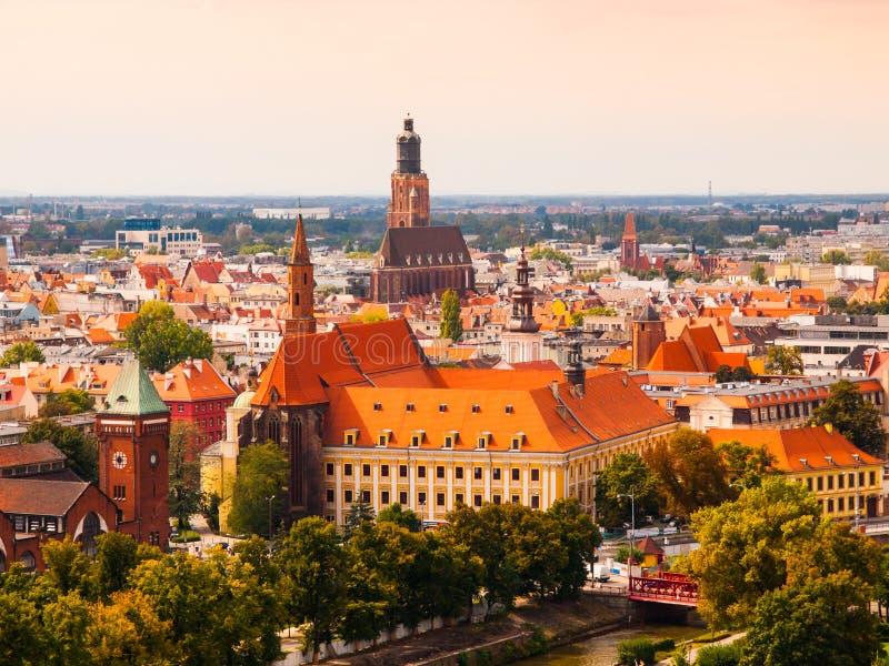 Vista aérea del cetre hitorical de la ciudad de Wroclaw imagen de archivo libre de regalías
