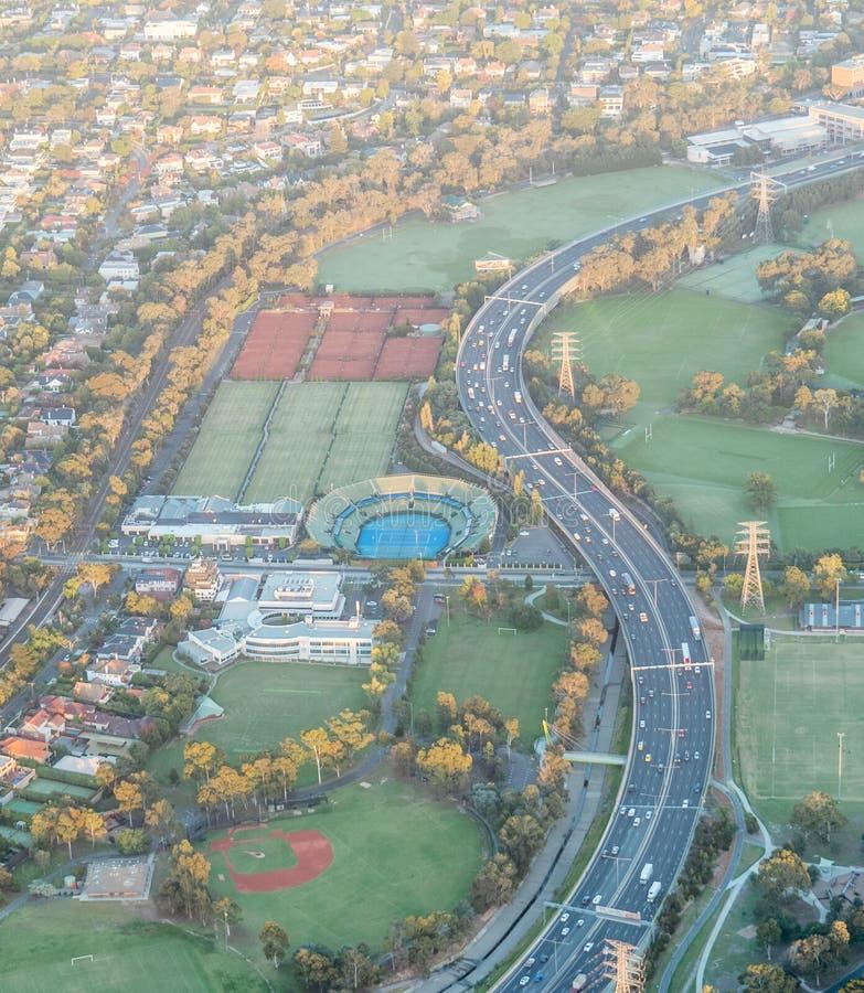 Vista aérea del club de tenis sobre hierba de Kooyong, Melbourne, Australia imagen de archivo libre de regalías