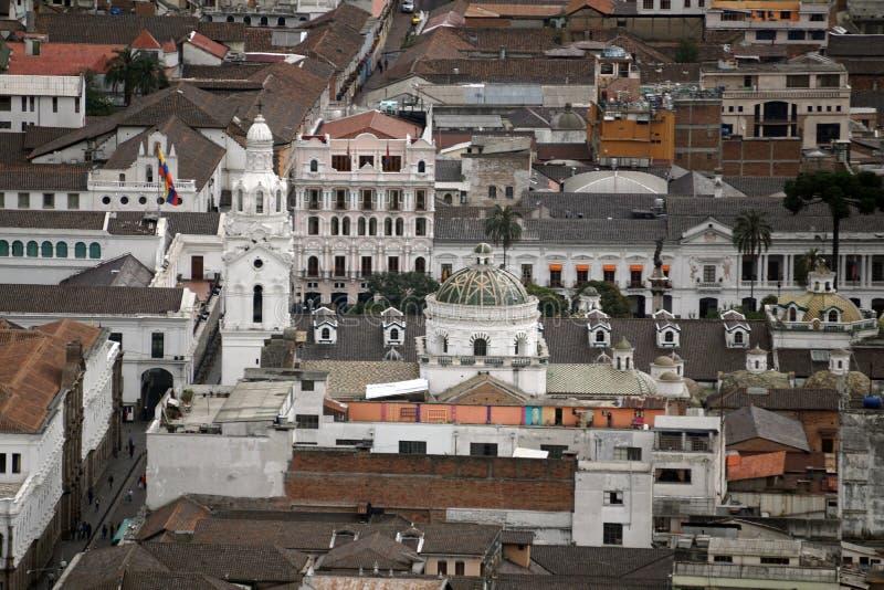 Vista aérea del cuadrado de la independencia, ciudad vieja de Quito fotografía de archivo