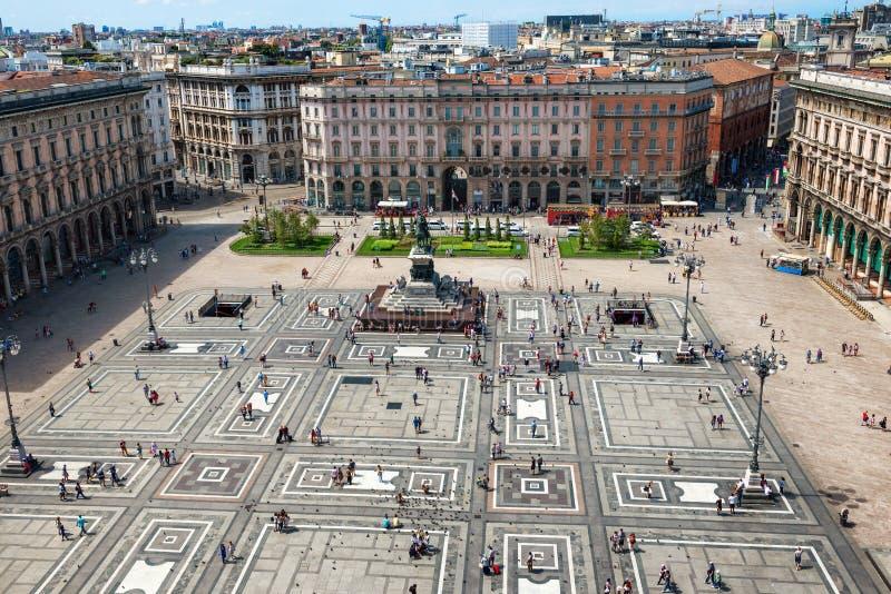 Vista aérea del cuadrado en Milán foto de archivo libre de regalías