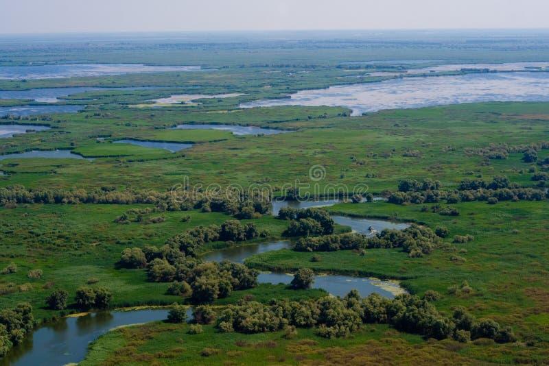 Vista aérea del delta de Danubio fotografía de archivo libre de regalías