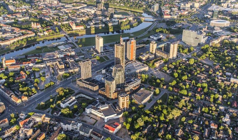 Vista aérea del distrito financiero en Vilna imágenes de archivo libres de regalías