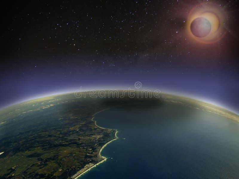 Vista aérea del eclipse solar 1 imagen de archivo