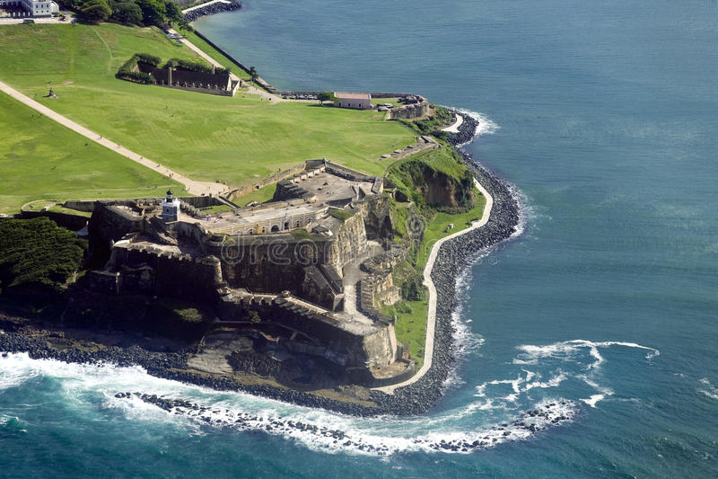 Vista aérea del EL Morro Puerto Rico imagenes de archivo