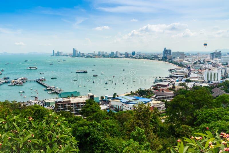 Vista aérea del embarcadero de Balihai, el embarcadero principal a viajar a Koh Larn fotos de archivo libres de regalías