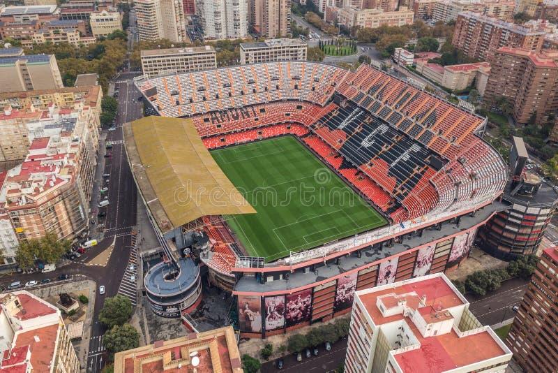 Vista aérea del estadio de Mestalla fotografía de archivo libre de regalías