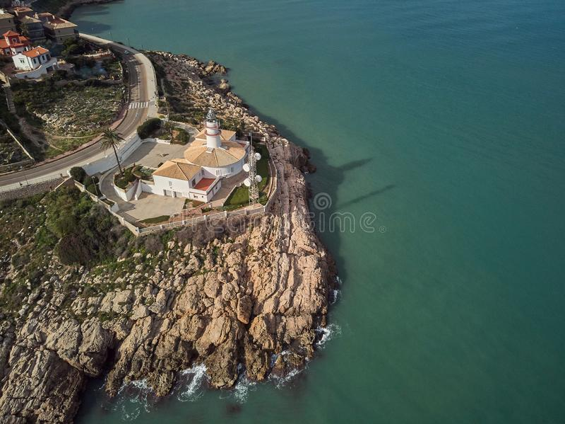 Vista aérea del faro de Cullera, Valencia españa foto de archivo libre de regalías