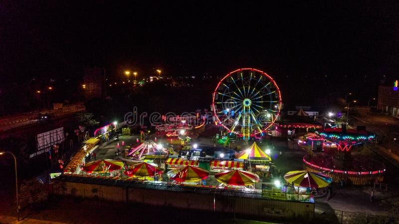 Vista aérea del funfair en Malasia imagen de archivo