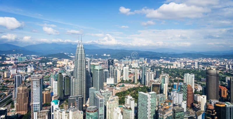 Vista aérea del horizonte de Kuala Lumpur, Malasia imágenes de archivo libres de regalías