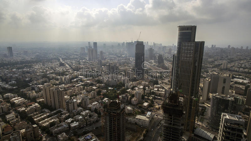 Vista aérea del horizonte de Tel Aviv fotos de archivo libres de regalías