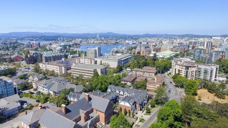 Vista aérea del horizonte de Victoria, isla de Vancouver imagen de archivo libre de regalías