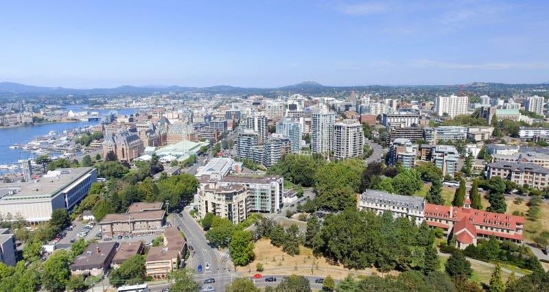 Vista aérea del horizonte de Victoria, isla de Vancouver foto de archivo
