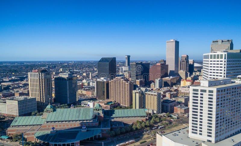 Vista aérea del horizonte en un día de invierno soleado, Louisi de New Orleans foto de archivo libre de regalías