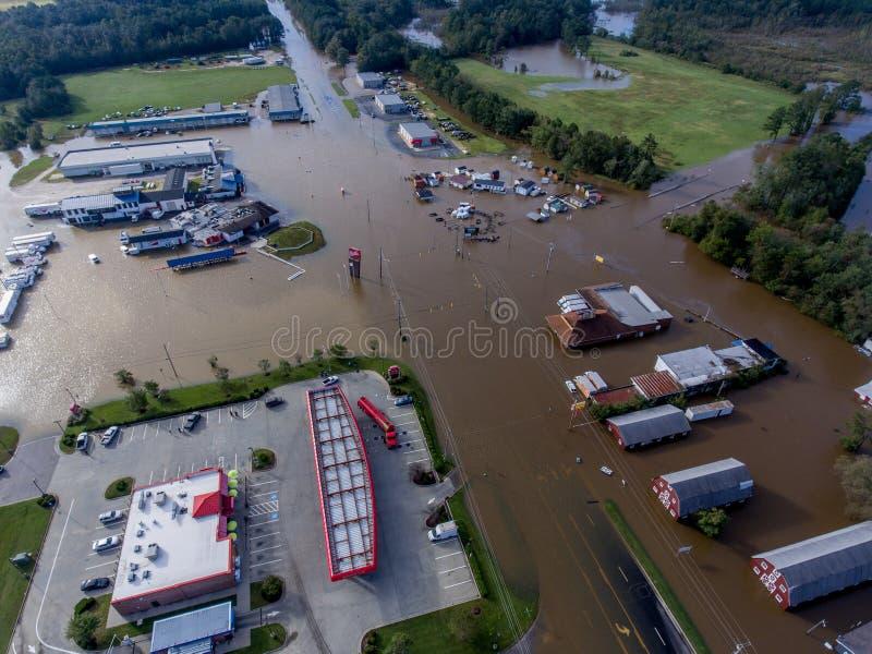 Vista aérea del huracán Matthew Flooding fotografía de archivo libre de regalías
