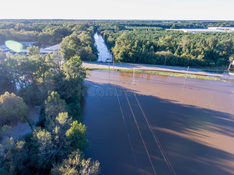 Vista aérea del huracán Matthew Flooding fotos de archivo libres de regalías
