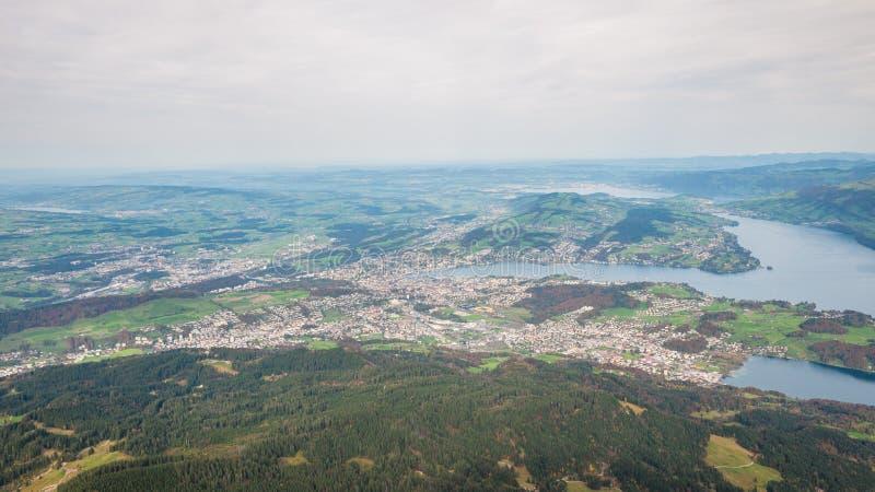 Vista aérea del lago lucerne encima de Pilatus foto de archivo libre de regalías