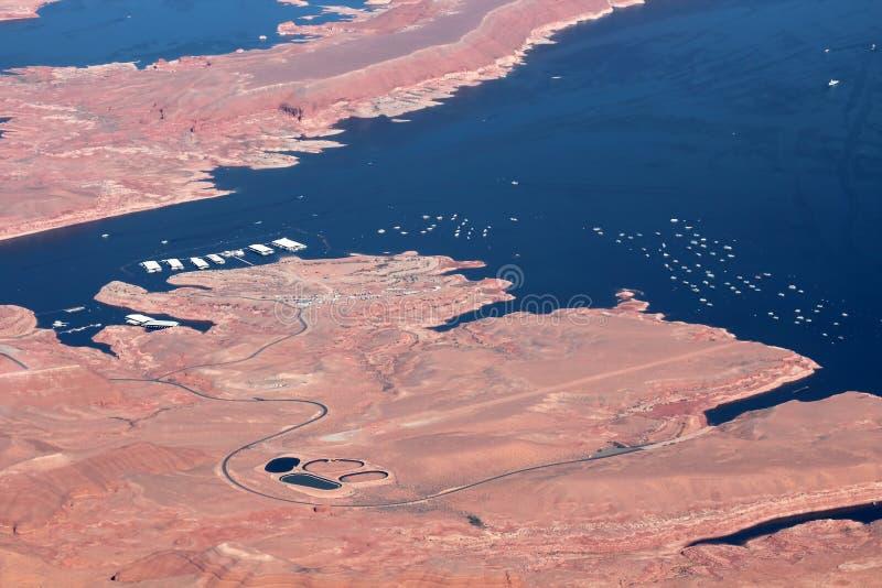 Vista aérea del lago Powell imagen de archivo