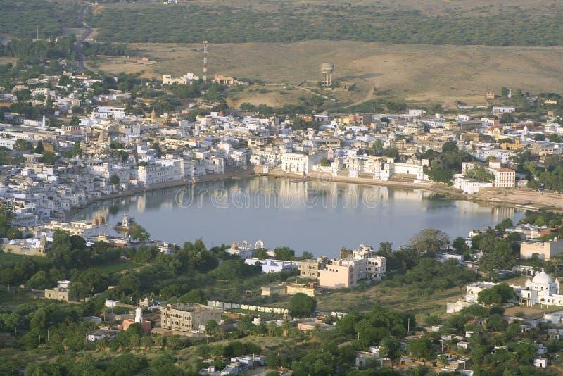 Vista aérea del lago pushkar foto de archivo libre de regalías