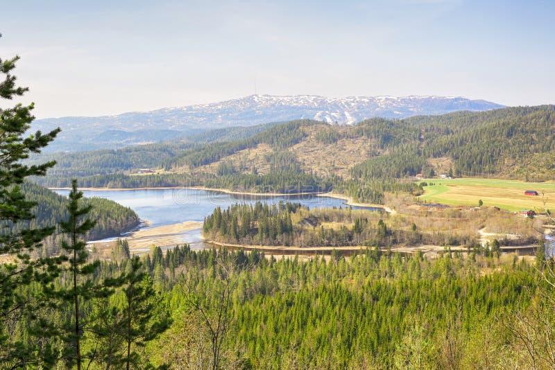 Vista aérea del lago Selbu, Noruega imagen de archivo libre de regalías