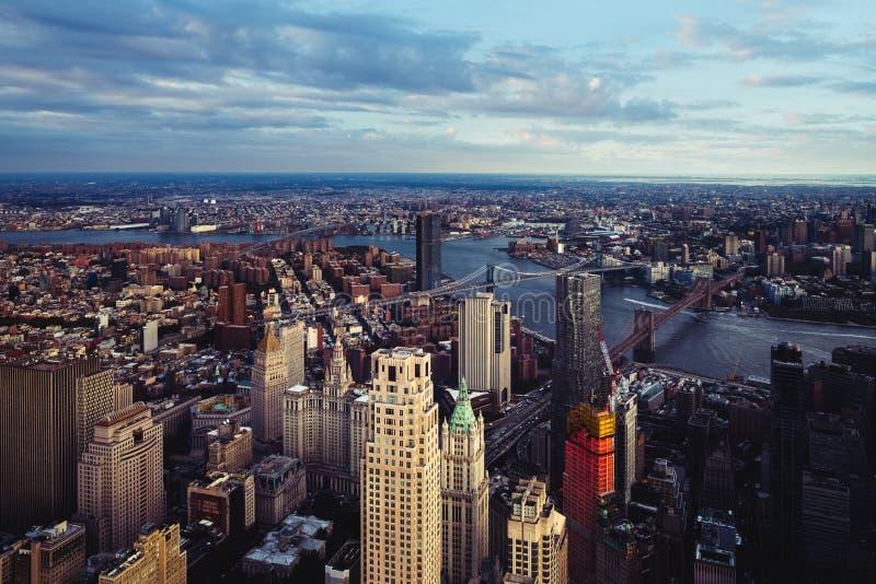 Vista aérea del Lower Manhattan fotos de archivo libres de regalías