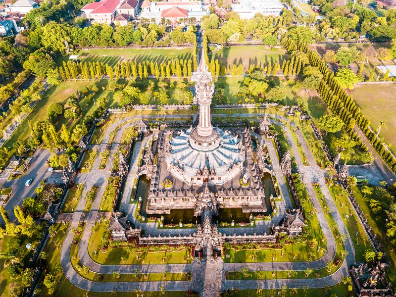 Vista aérea del monumento Denpasar Bali Indonesia de Bajra Sandhi imágenes de archivo libres de regalías