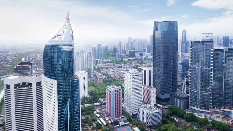 Vista aérea del paisaje urbano de Jakarta imagenes de archivo