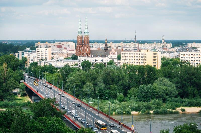 Vista aérea del paisaje urbano de Varsovia, Polonia imagenes de archivo