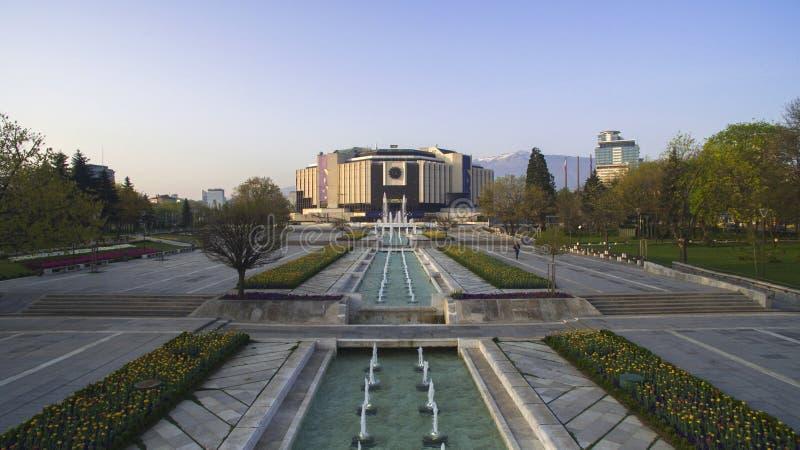 Vista aérea del palacio nacional de la cultura NDK, Sofía, Bulgaria imagenes de archivo