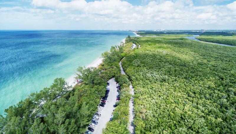 Vista aérea del parque de estado de Delnor-Wiggins, la Florida imagen de archivo