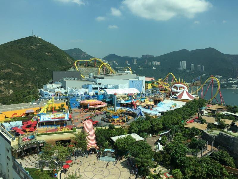 Vista aérea del parque del océano, Hong-Kong fotografía de archivo