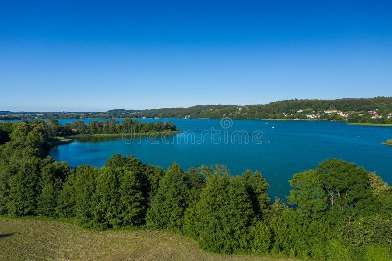 Vista aérea del parque del paisaje de Kashubian Kaszuby polonia La foto hizo por el abej?n desde arriba Opini?n de ojo de p?jaro imágenes de archivo libres de regalías